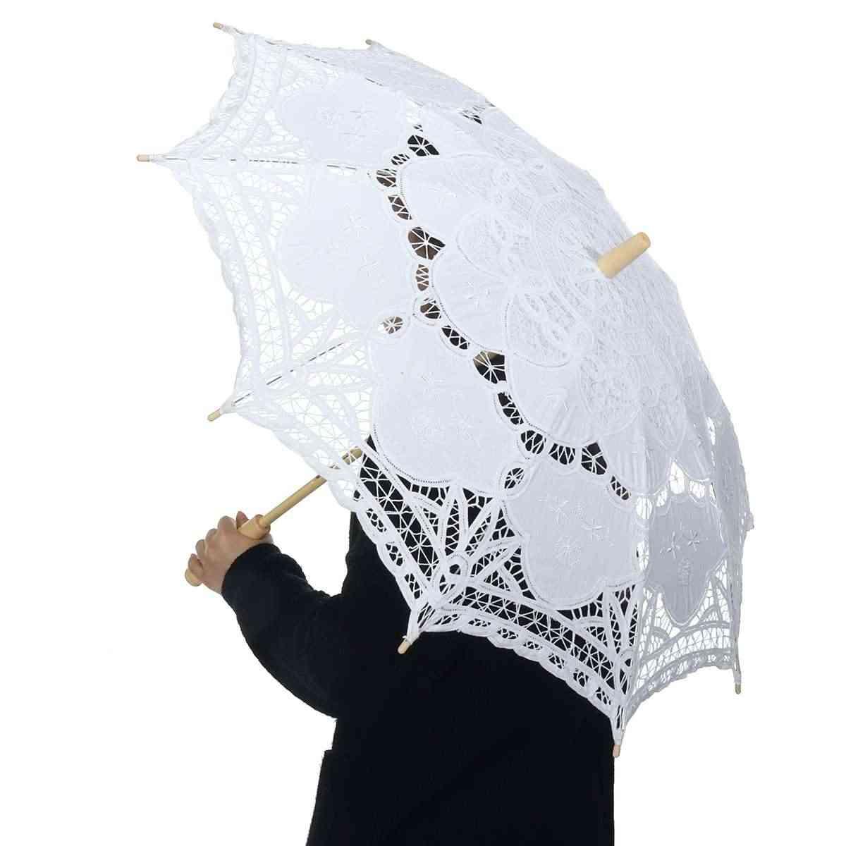 Elegant Embroidered Lace Cotton Umbrella