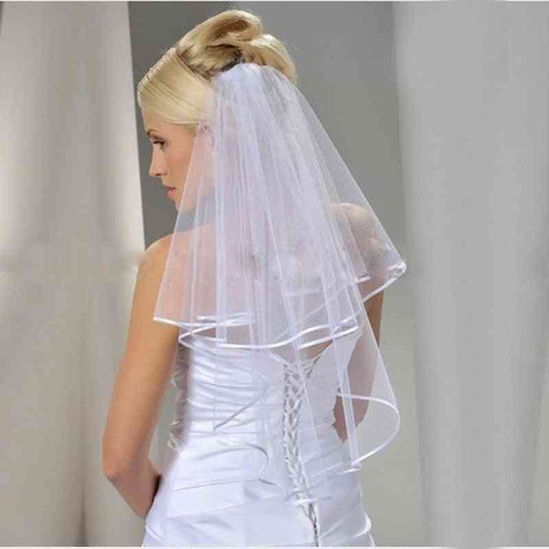 2-layers Ribbon Edge, Short With Comb Veil