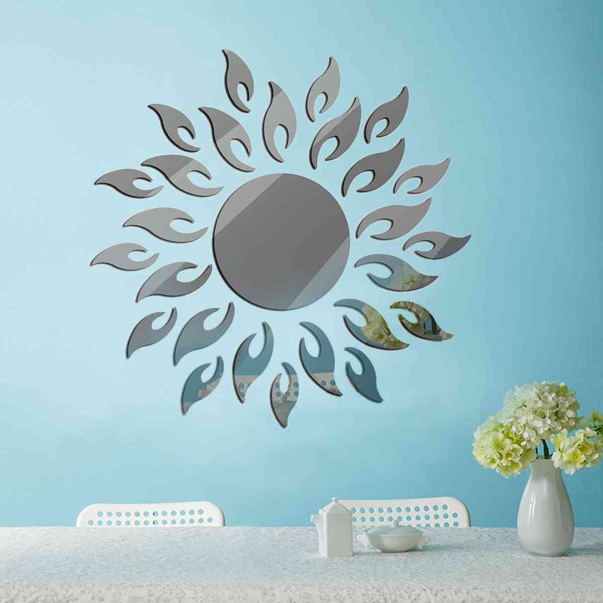 Removable 3d Sun Flower Mirror Wall Sticker For Decoration