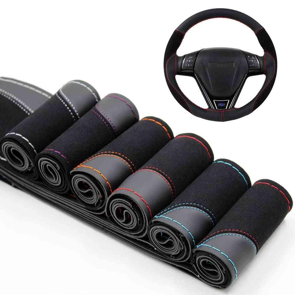 Steering Wheel Cover Wear Resistant Soft Pu Suede Leather Car Steering-wheel Braid