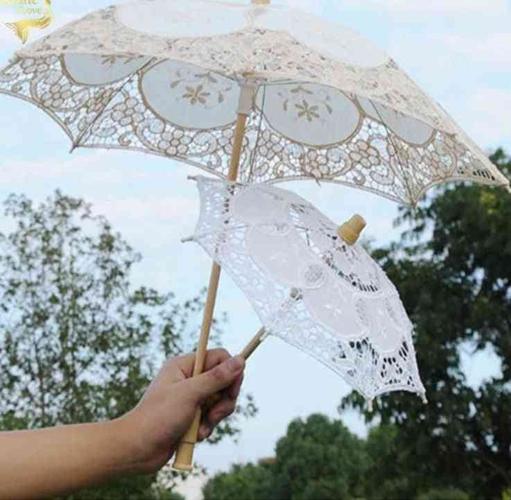 Little Girl Wood Embroidery Cotton Lace Umbrella