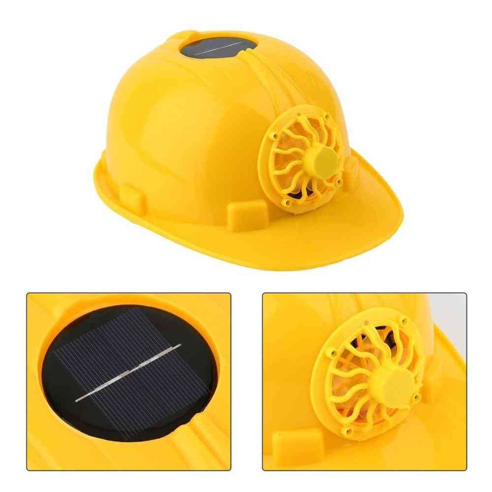 Comfortable Safety Helmet Hard Ventilate Hat Cap With Solar Panel Power