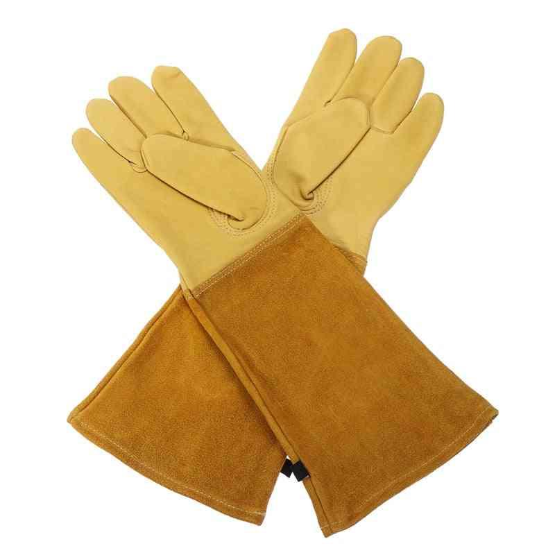 Heavy Duty Gardening Rose Pruning Gauntlet Gloves, Thorn Proof, Long Sleeve