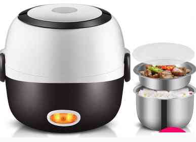 Mini Electric Rice Cooker, Stainless Steel Steamer, Portable Meal Thermal Heating Lunch Box