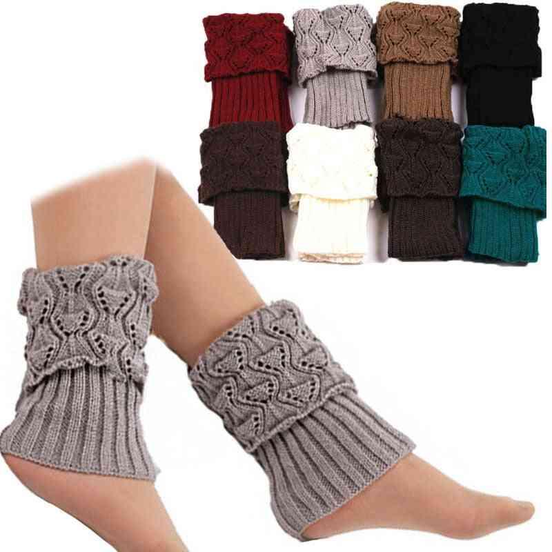 Women Crochet Boot Cuffs, Knit Toppers Socks For Winter Leg Warmers
