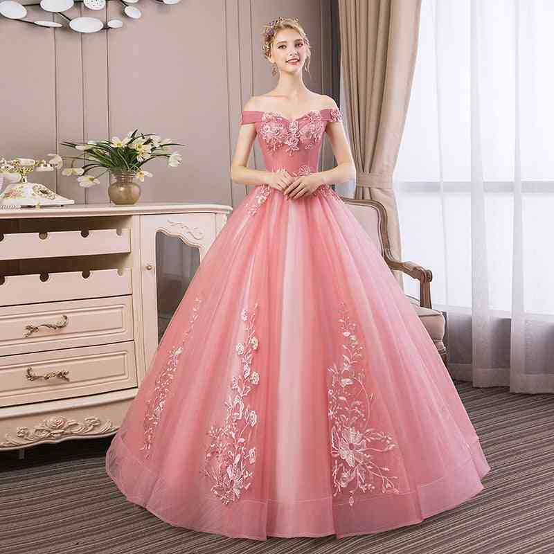 Women Elegant Boat Neck, Lace Embroidery Party Gown