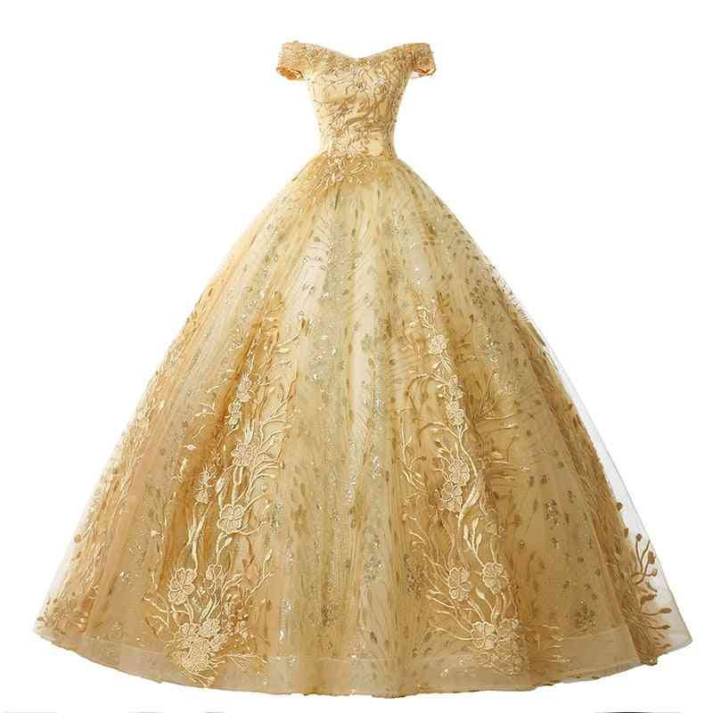 Women's Luxury Appliques Formal Ball Gown, Vintage Dress