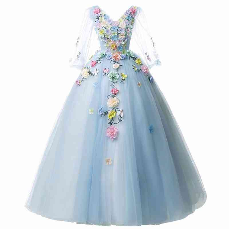 Full Sleeve, Floral Print, V-neck Party Prom Solo Ball Gown