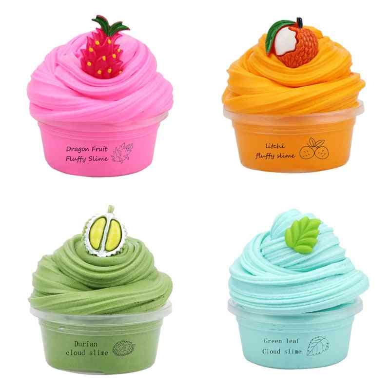Fluffy Slime, Pure Color Clay With Fruit Charm, Litchi Durian, Dragon Fruit Stretched Toy