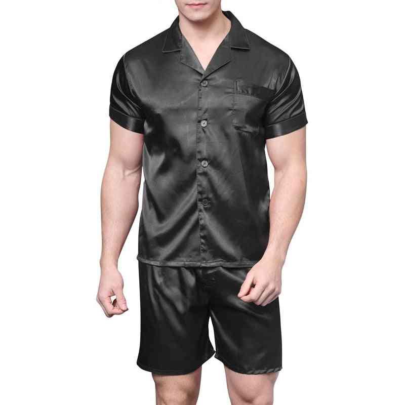Satin Silk Pajamas Shorts Sleepwear Summer Soft Nightgown