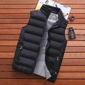Autumn Warm Sleeveless Jacket, Solid Outwear Vest