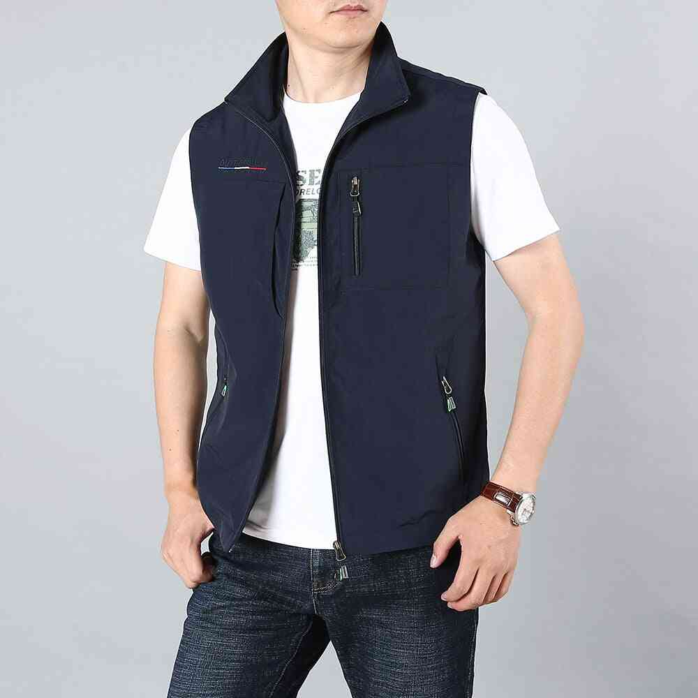 Summer New Solid Color Stand Collar Waistcoat  Jacket