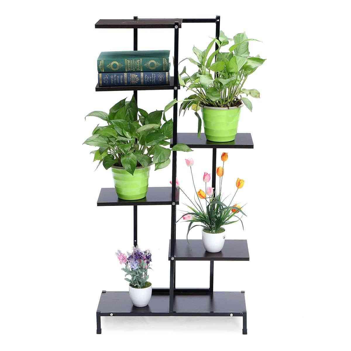 5-tiers Wooden Iron, Plant Rack, Display Shelf, Home Garden, Flower Stands