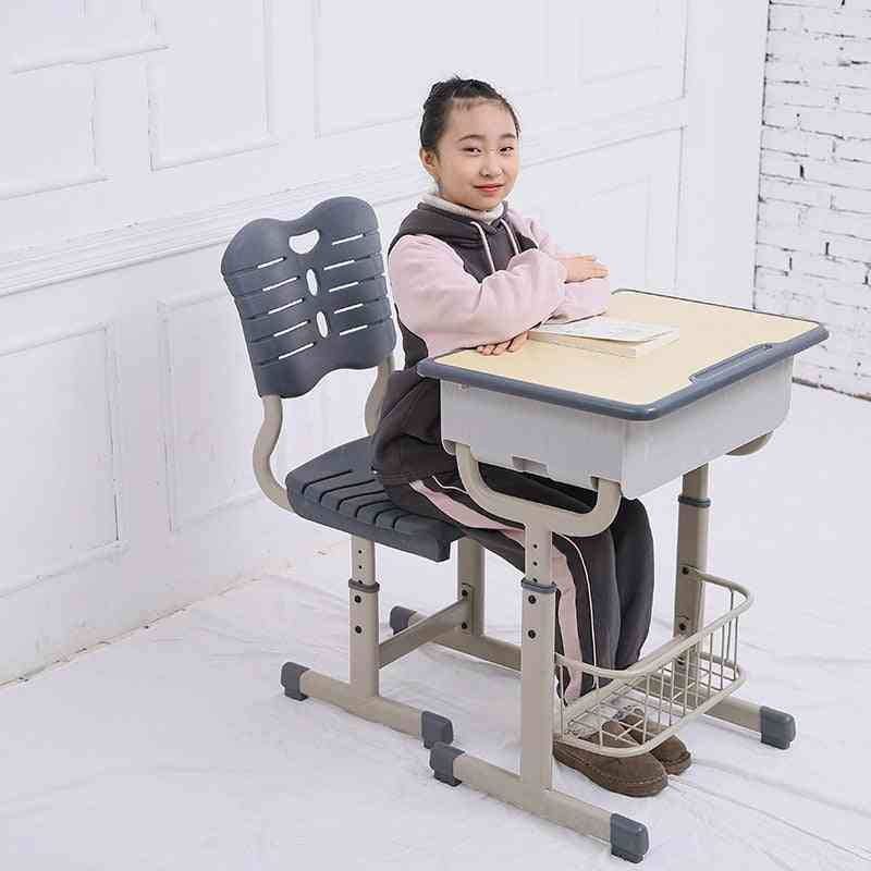 Adjustable Desk And Chairs Set With Pencil Slot