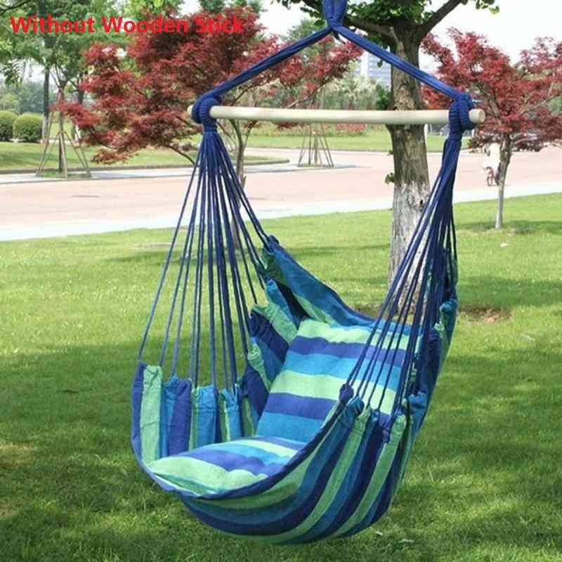 Portable Hammock Canvas Bed, Garden Hanging, Rope Chair Swing