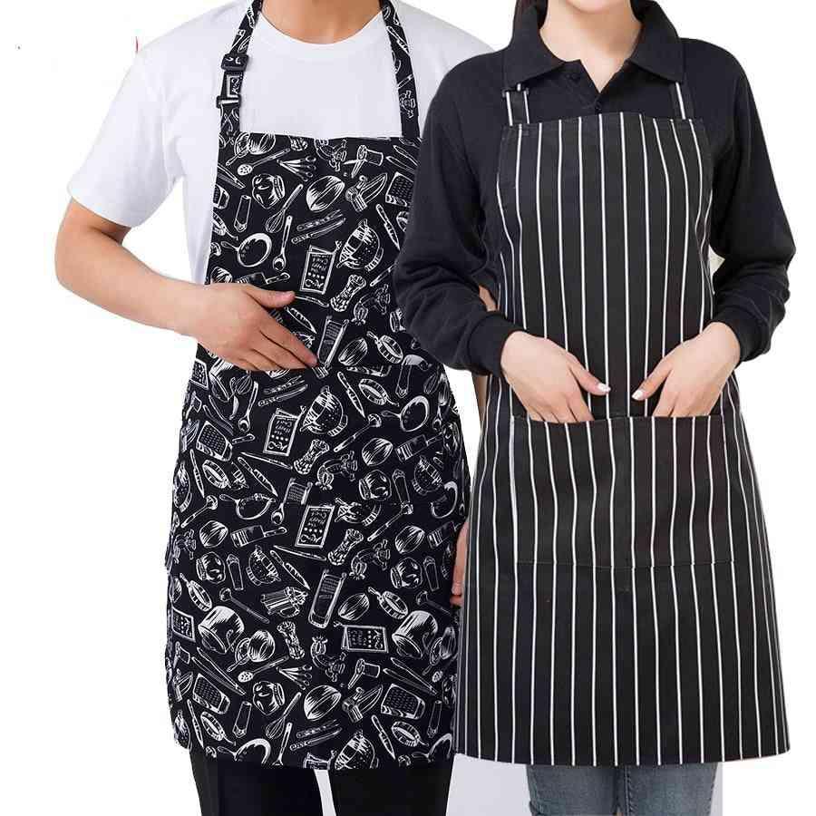 Cooking Sleeveless, Apron Stripe With Pockets Halter Bib