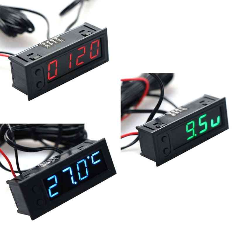 Multifunction High-precision Clock Inside And Outside Car Temperature Monitor Panel Meter