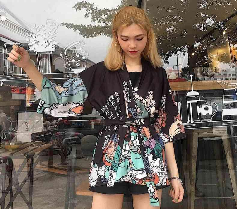 Styles Girl Kawaii Print Crane Cosplay Yukata Harajuku Shirts Japan Women Haori