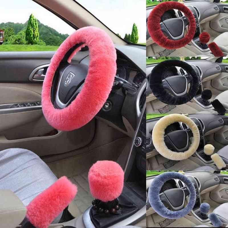 Winter Faux Fur- Car Steering Wheel, Hand Brake & Gear Cover Set