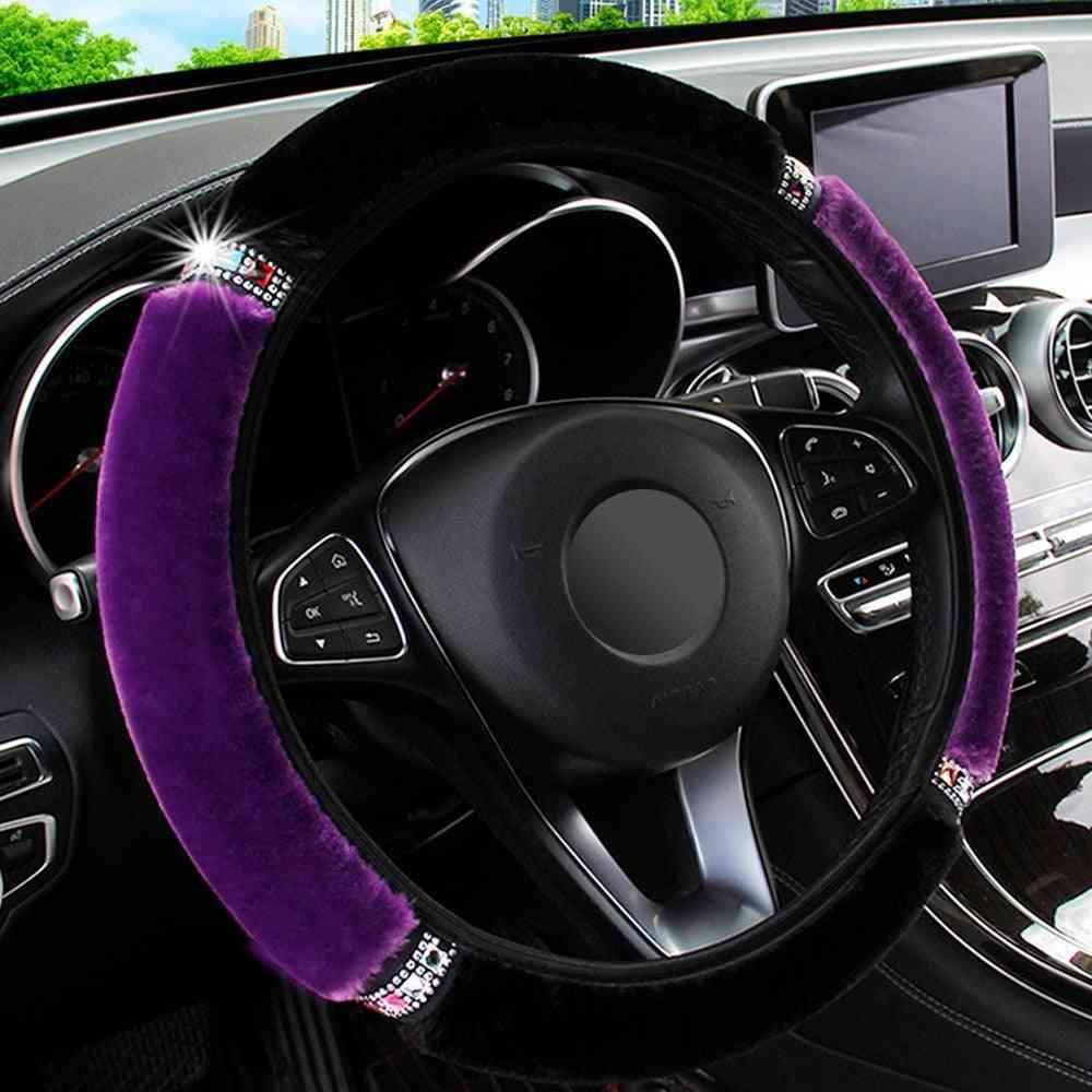 Soft Plush Rhinestone Car Steering Wheel Cover, Interior Accessories