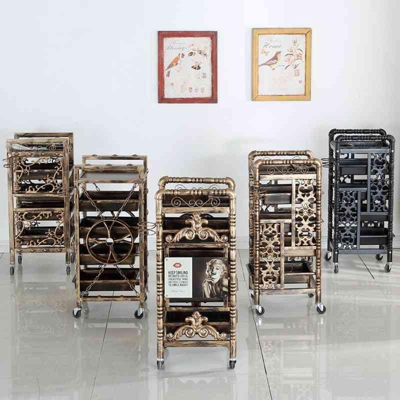 Beauty Salon Retro Stroller, Multifunctional Cart Abs Rack