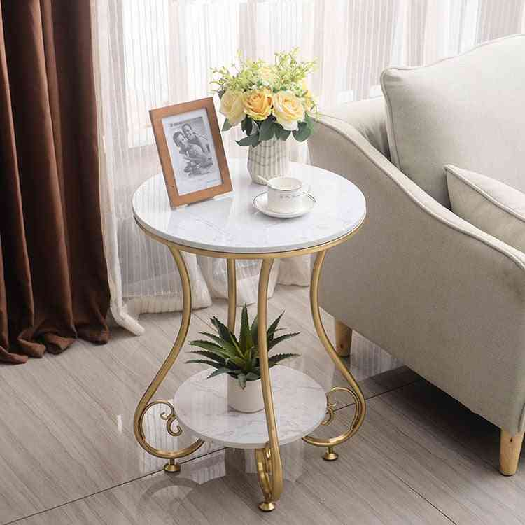 Marble Round, Coffee & Tea Table With Two-layer For Living Room