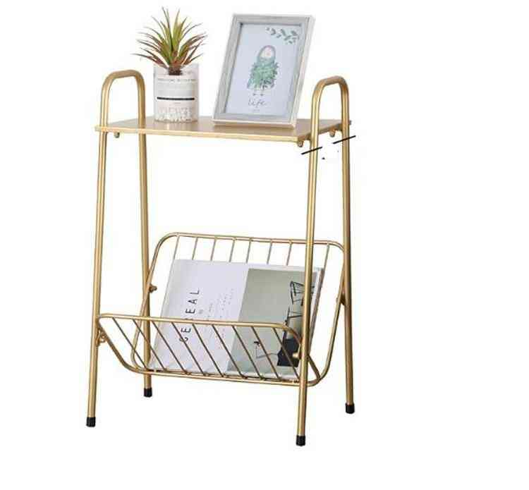 Creative Golden Iron, Coffee Side, Movable Table With Book Magazine Rack