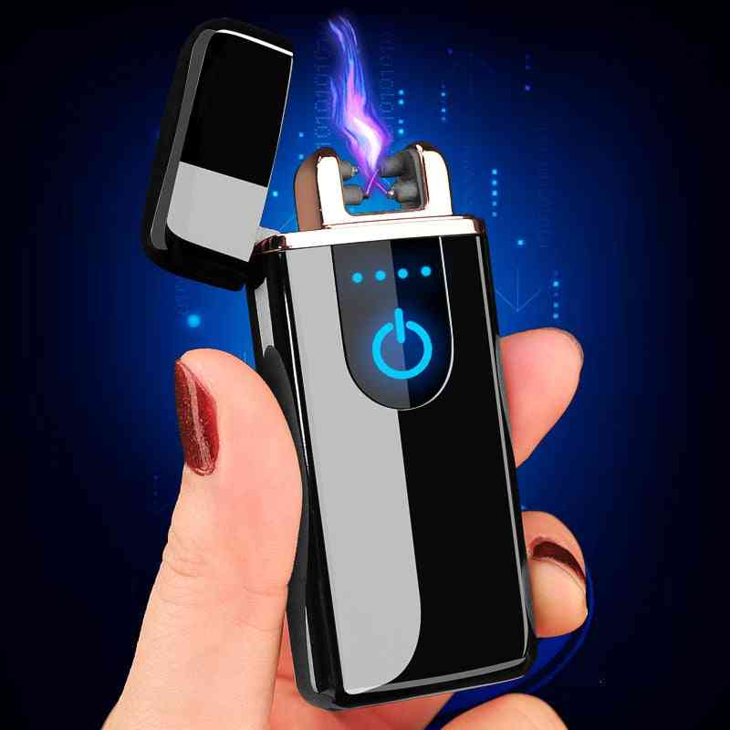 Windproof Rechargeable, Dual Arc Usb Electric Lighter With Led Display
