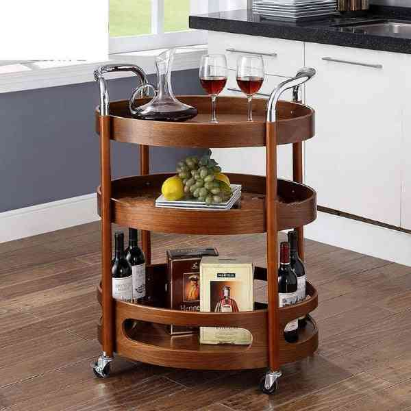 Three-tier Solid Wood, Curved Kitchen Tea, Dining Trolley Table