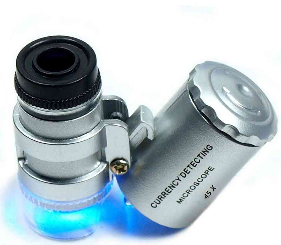 Mini Jewelers Loupe, Magnifier Microscope, Magnifying Pocket, Led & Uv Light