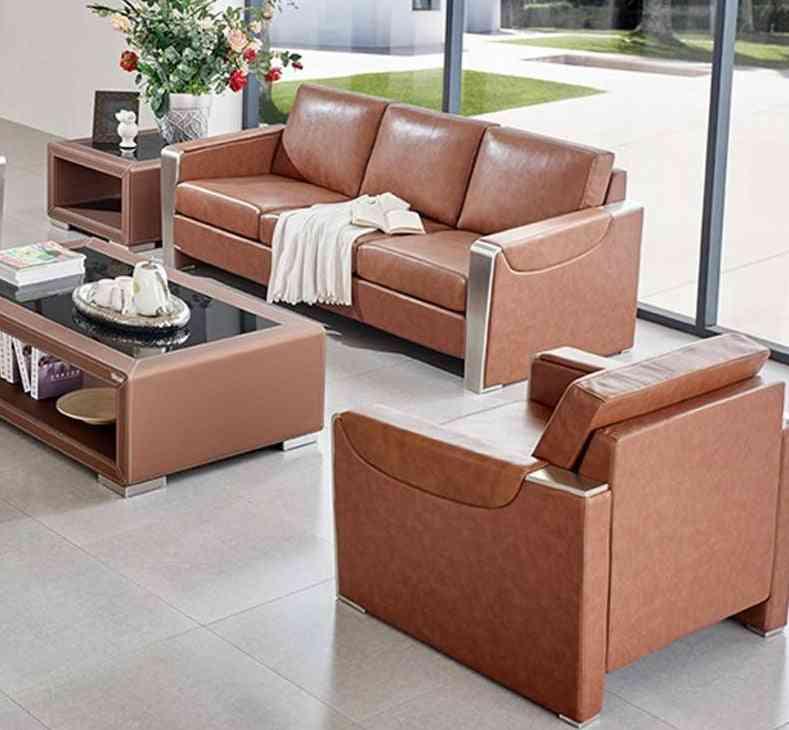 Genuine Leather- Luxury Office, Living Room, Sofa & Coffee Table Set