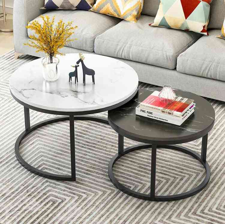 Marble Texture Wooden Combination Furniture Round Tea Table