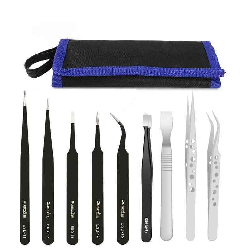 Stainless Steel Esd Tweezers Kit, Electronic Mobile Phone Repair Antistatic Tools