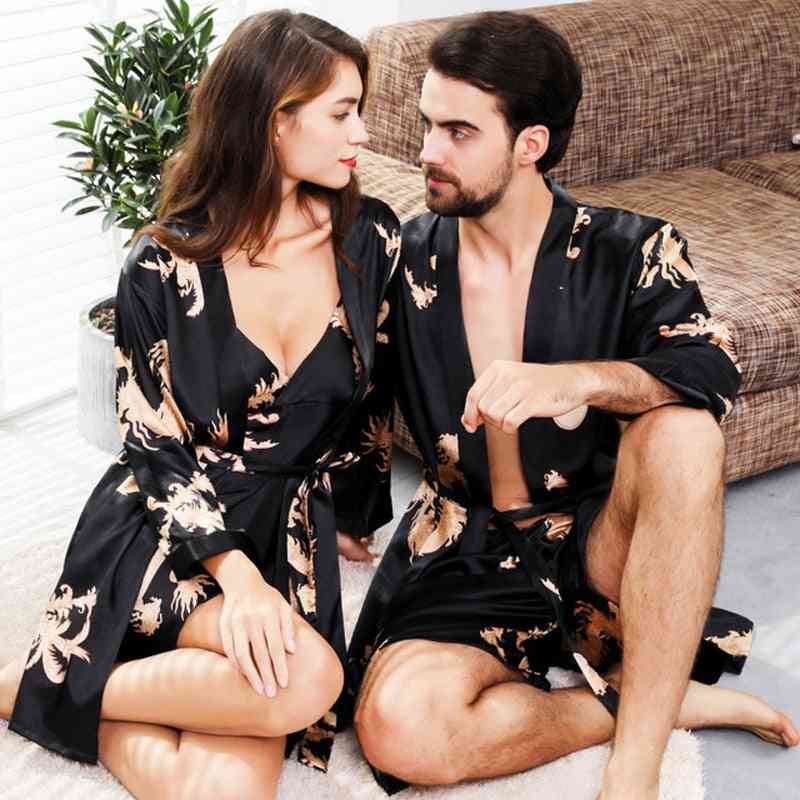 Mens Women, Satin Silk Bathrobe Couples Nightgow