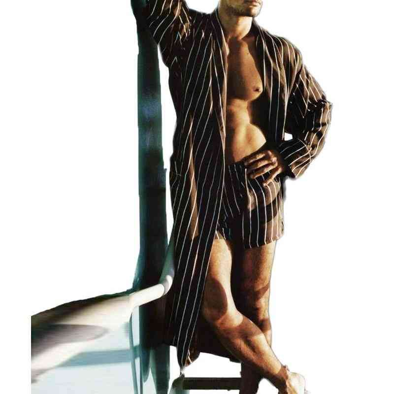 Men Nightgown Suits, Striped Sleepwear Robes Elastic Shorts Sets