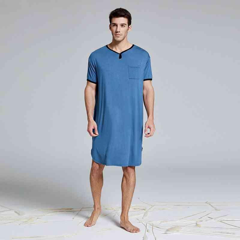 Men's Big&tall Short Sleeve Nightshirt Nightwear, Sleep Shirt