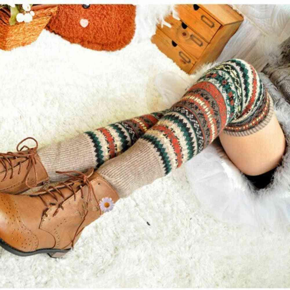 Women Winter Over Knee, Long Knit Crochet, Leg Warmers Legging