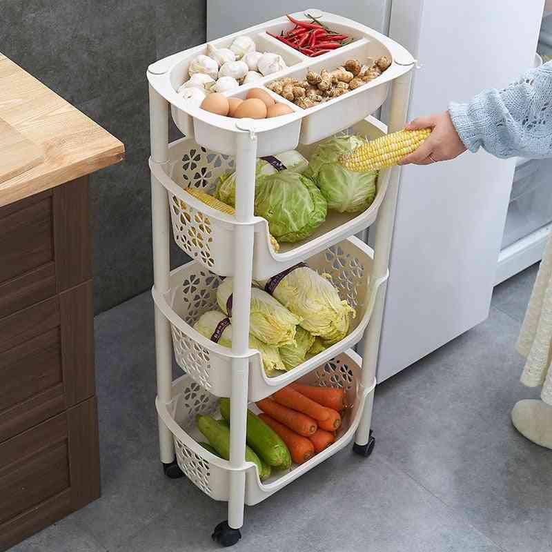 Multi-layer, Fruit & Vegetable, Storage Shelf Rack, Kitchen Trolley With Wheels