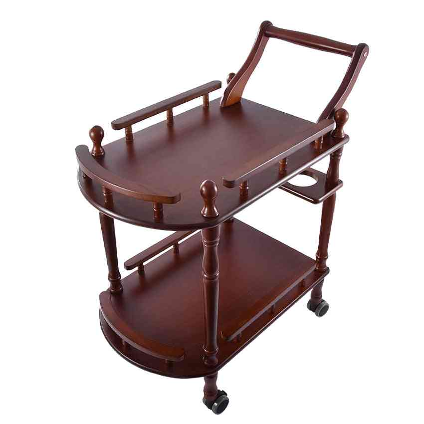 Multipurpose, Double-layer, Solid Wood Movable Tables Trolley