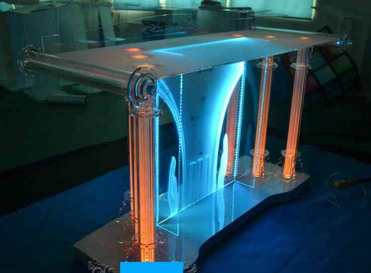 Guiheyun Factory Price Cheap Portable Acrylic Glass Pulpit For Church Crystal Acrylic Podium 150*60*120 Cm
