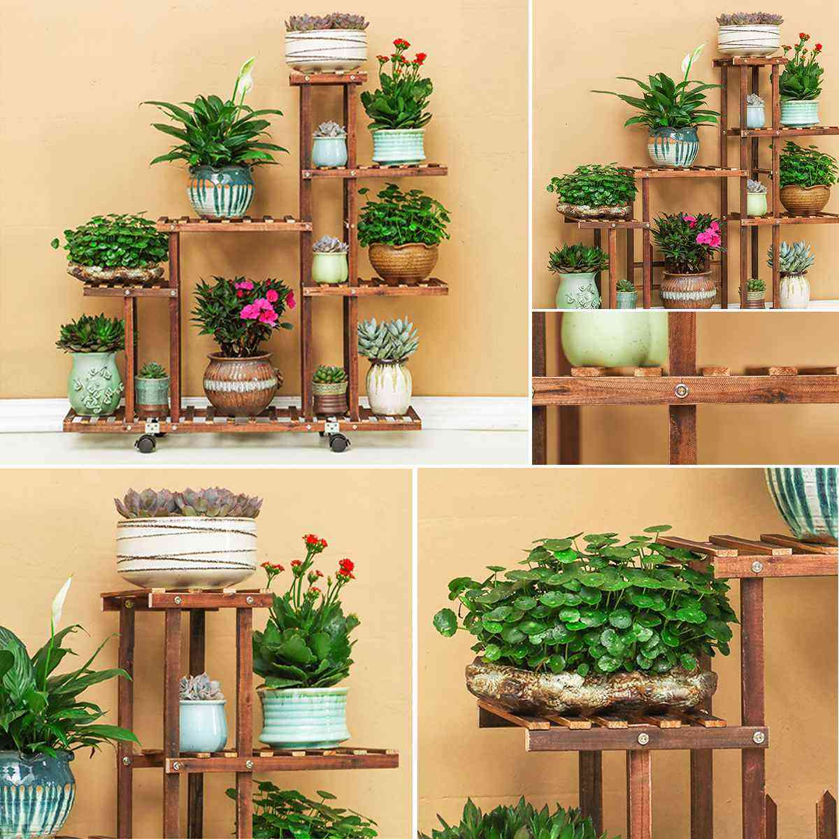 Wooden Flower Pot Stand Shelf