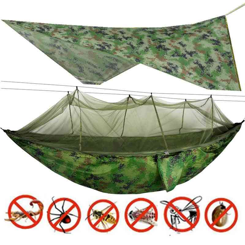 Portable Hanging Hammock With Mosquito Net, Outdoor Bed, Camping, Garden