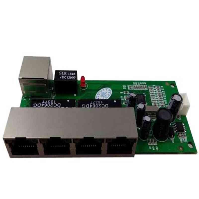5 Port 10/100mbps Network Switch 5-12v Wide Input Voltage Smart Ethernet Pcb Rj45 Module With Led Built-in