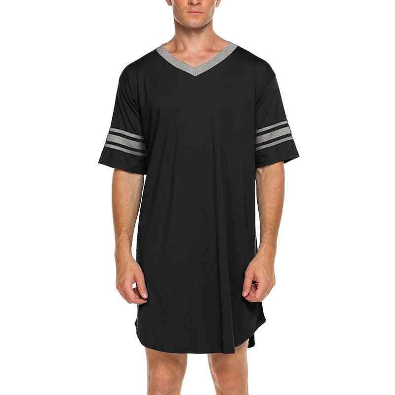 Men Homewear Cotton, Short Sleeve, V-neck, Soft Loose Nightshirt Sleep Tops