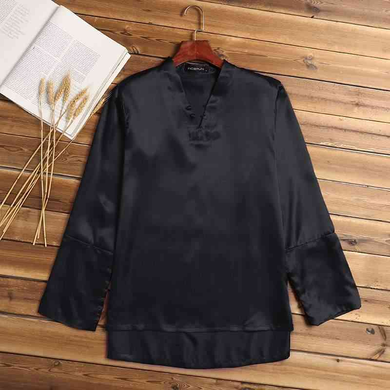 Men Fashion Sleepwear Tops, Long Sleeve, V-neck