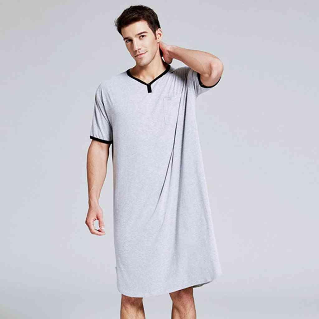 Men Sleepwear Long Nightshirt, Short Sleeve, Nightwear