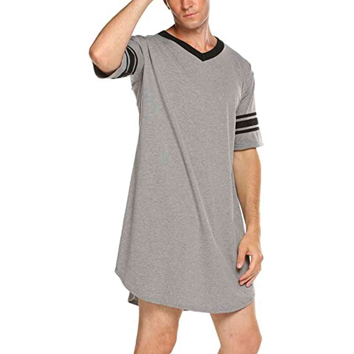 Men Cotton Nightshirt, Short Sleeve, V-neck, Loose Sleepwear T-shirt
