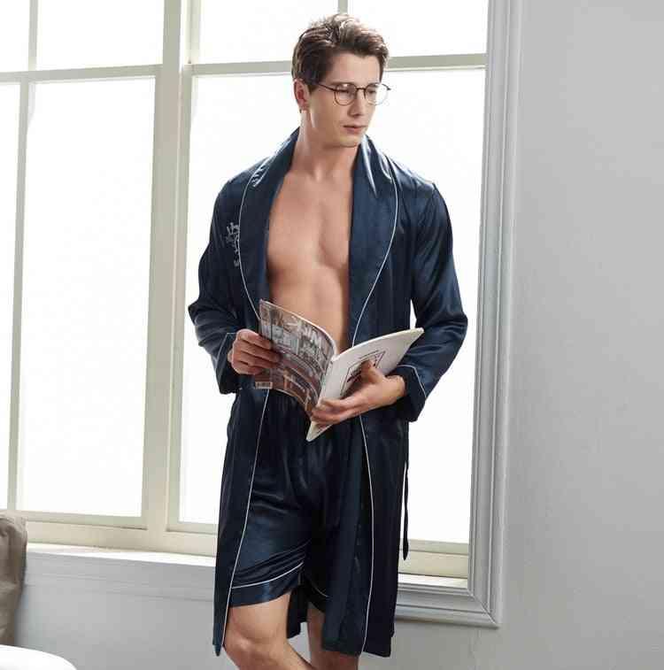 Long-sleeved Shorts Silk Bathrobe Set