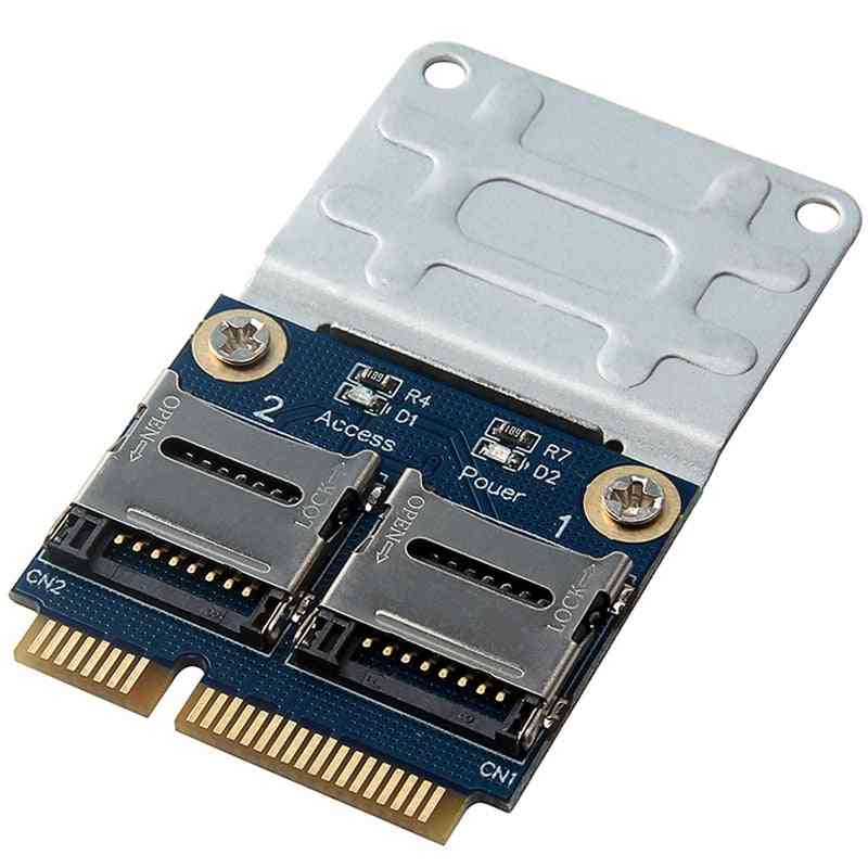 Mini Pcie Memory Card Reader Mpcie To 2 Mini-sdcard, Pci-e Adapter
