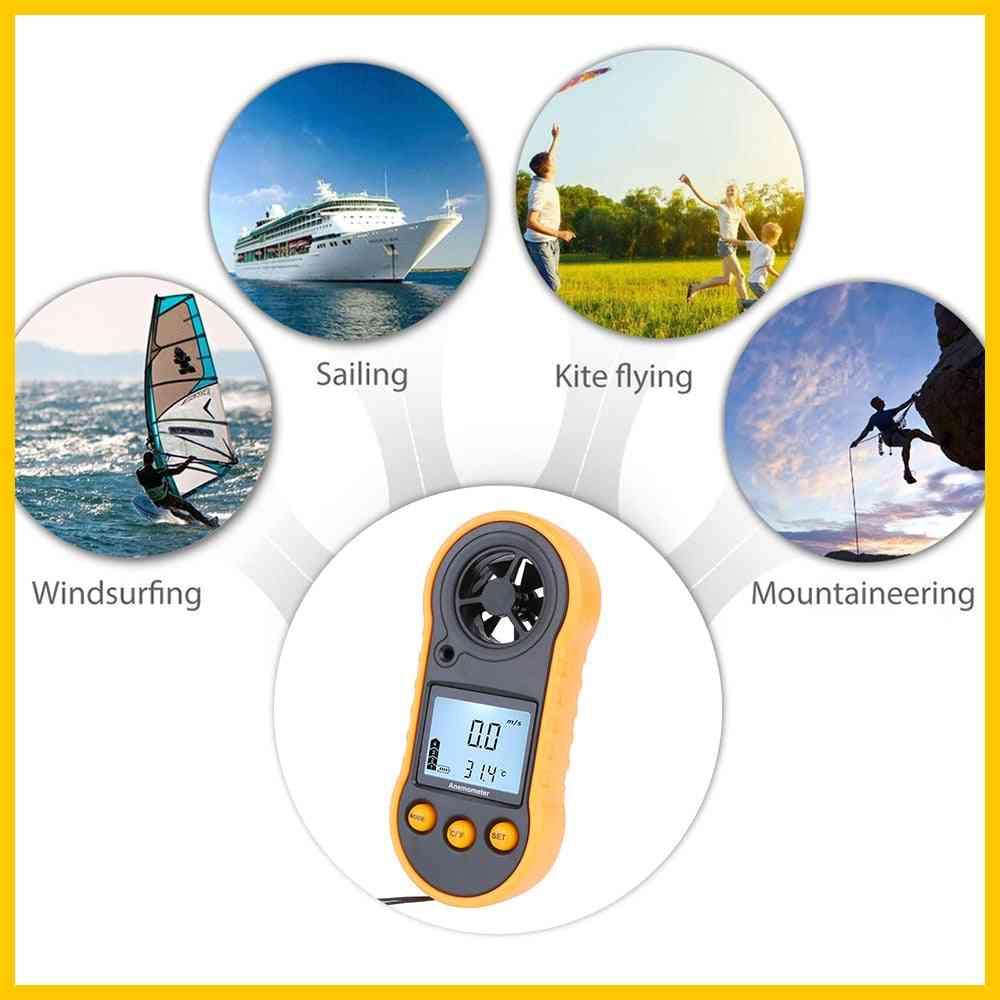 Rz Portable Lcd Digital Hand-held Anemometer,  Wind Speed Gauge